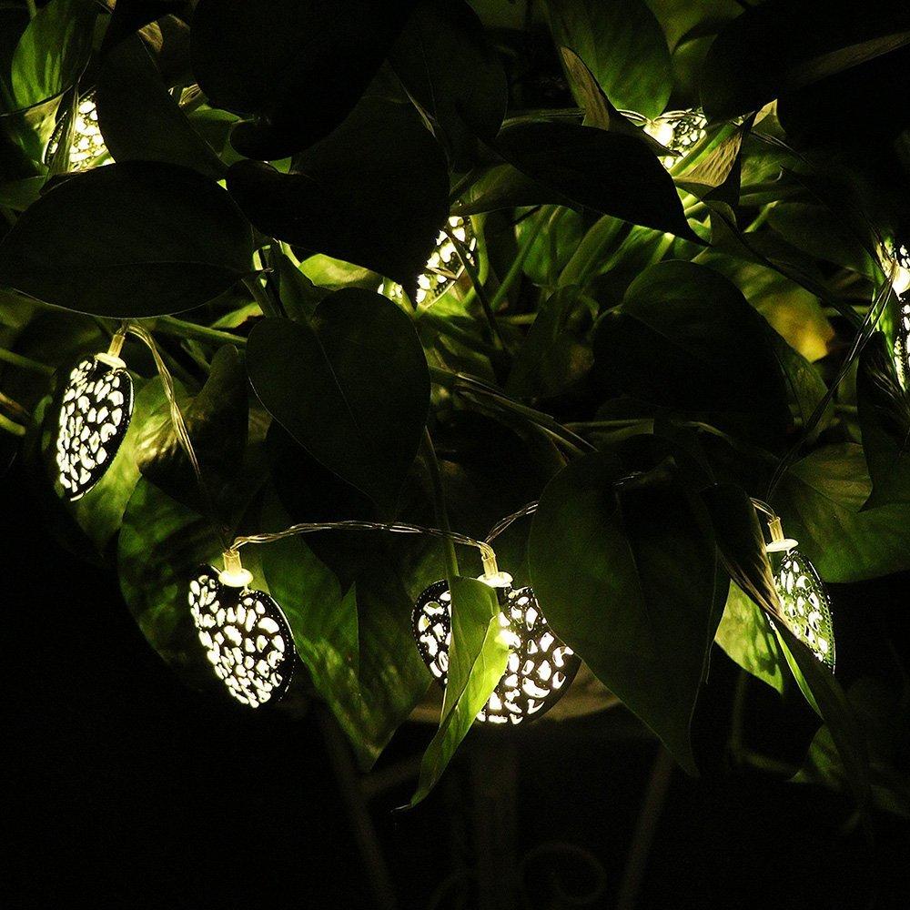 Goud Zilver Metaal Hartvorm Werkt op Batterijen 10 LED - Vakantie verlichting - Foto 5