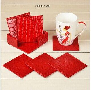 10x10cm 6PCS/set Square PU Leather Cup Coaster Pad Bar Coffee House Table  Mat Pad