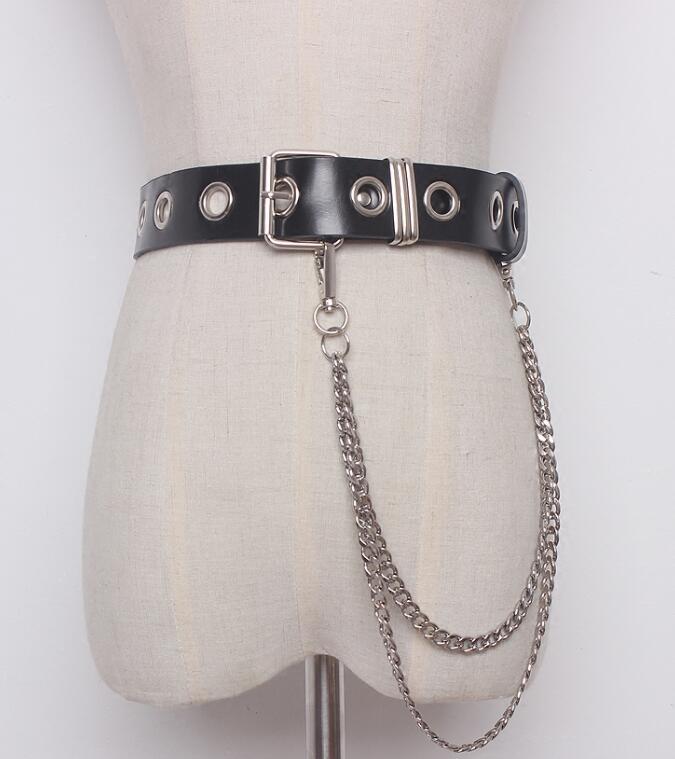 Women's Runway Fashion Punk Style PU Leather Chain Cummerbunds Female Dress Corsets Waistband Belts Decoration Wide Belt R1420