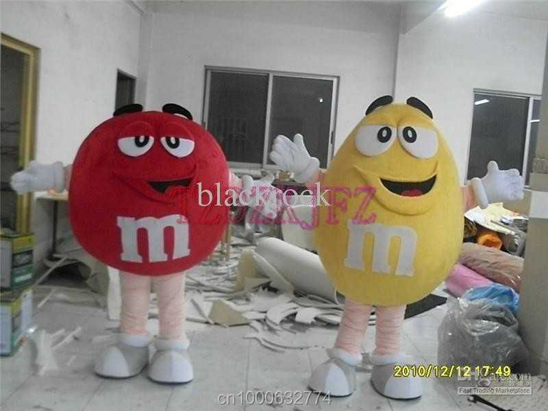 2 Piece pack Hot Selling Yellow and red Coffee Bean Costume Coffee Bean Mascot Free shipping