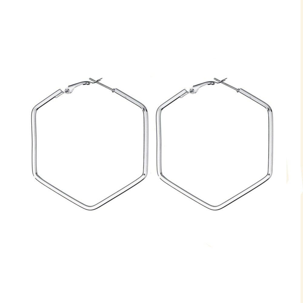 EK379 Statement Earring Hollow Geometric Polygon Hexagon Big Drop Earrings For Women Punk Party Jewelry Gift Simple Brincos
