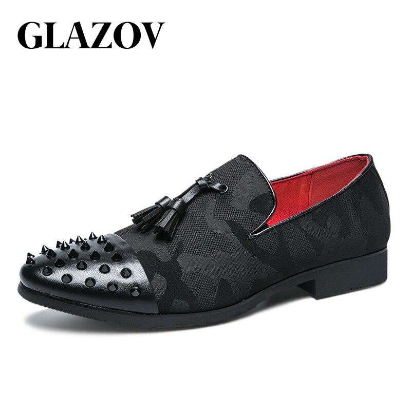 Pointu À Glitter Formelle red Mocassin Sur En Chaussures Italiennes Robe Maille Hommes Pour Glazov Black Bout Cuir Noir Rivet Slip OxwcaSfq67