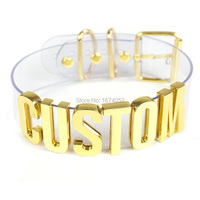Handmade Choker Customized Custom Cosplay Choose Letter Name Word Collar Clear PVC Gold 35mm Tall Alpabet