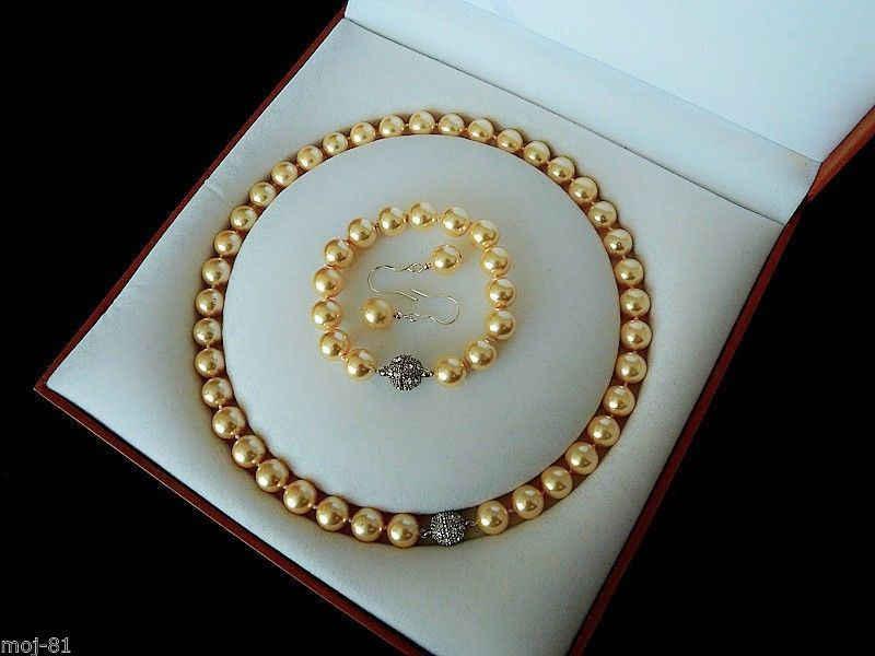 """משלוח חינם>>>> DYY נדיר 10 מ""""מ זהב Shell שרשרת פניני צמיד עגילי סט אמיתי דרום הים AAA"""