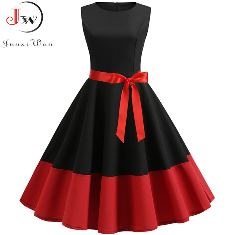 2019 Black Summer Dress Women 50s 60s Retro Vintage Dress Casual Sleeveless Elegant Robe Rockabilly Swing Pin Up Party Dress
