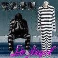 Anime Kangoku Gakuen/Gefängnis Schule Cosplay Halloween Party Kostüm Schwarz weiß Gestreiften Gefängnis Uniform Alle In Einem Overalls-in Anime Kostüme aus Neuheiten und Spezialanwendung bei