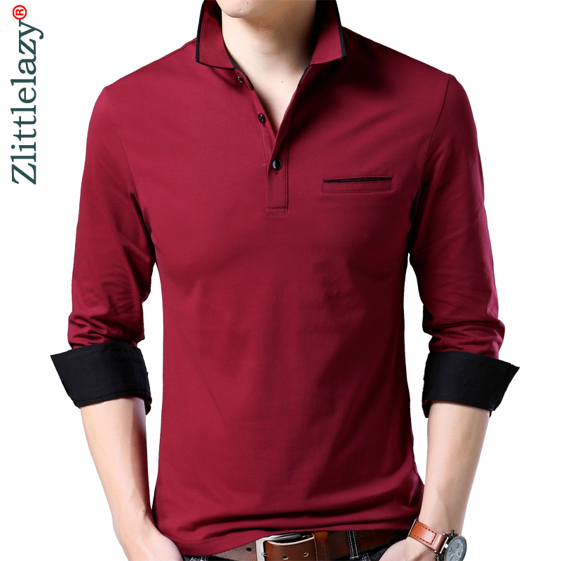 2019 new long sleeve bodybuilding tee shirts summer solid pol shirt   polo   men clothes streetwear jersey mens   polos   poloshirt 1071