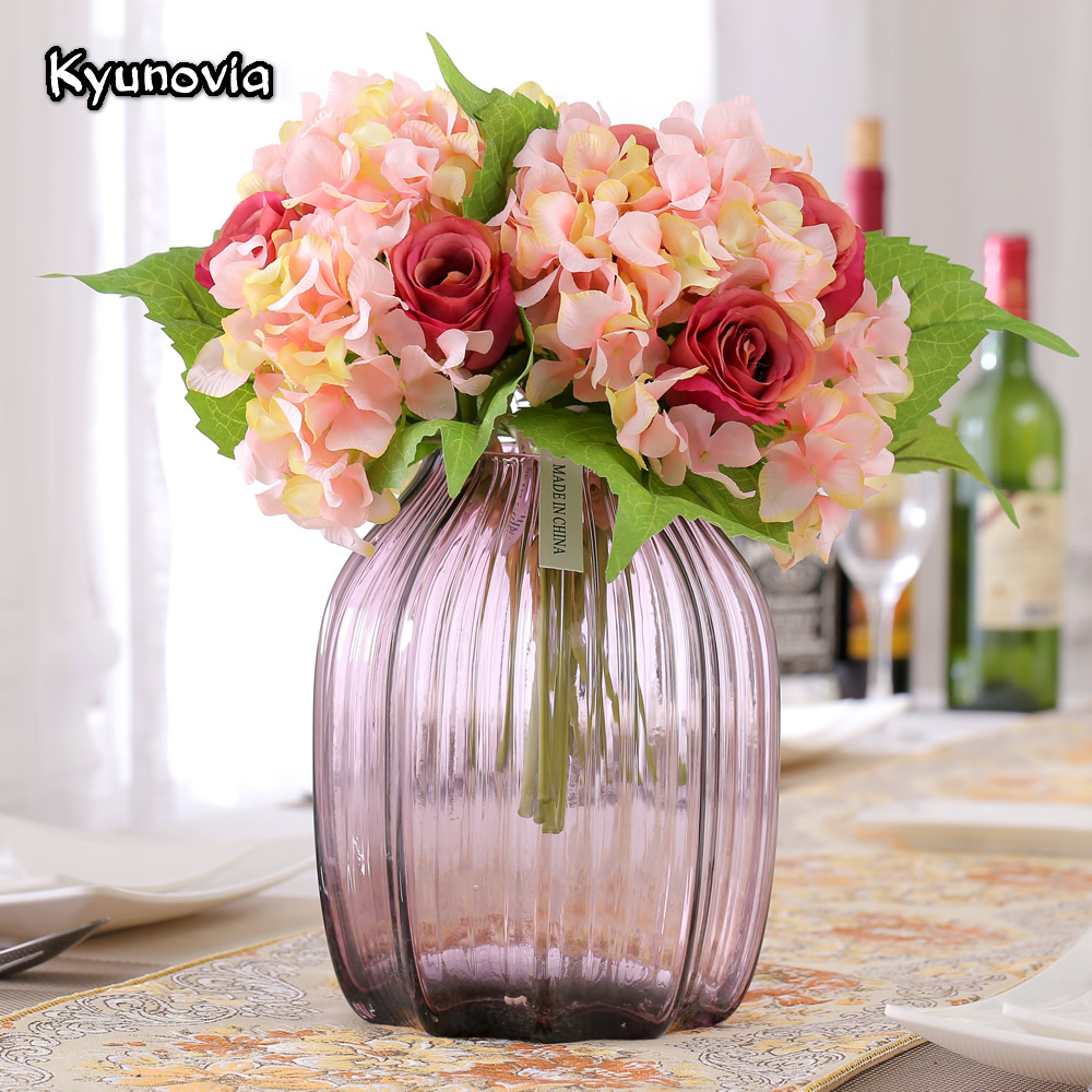 Kyunovia silk artificial flower wedding bouquet roses hydrangea kyunovia silk artificial flower wedding bouquet roses hydrangea bridal bridesmaid flower bouquet fall diy wedding path home ky26 in artificial dried izmirmasajfo Choice Image