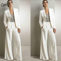 90c0c921a1da0 Two Pieces White Plus Size Mother Of The Bride Dresses Jumpsuits With  Jacket Sequined Long Sleeve