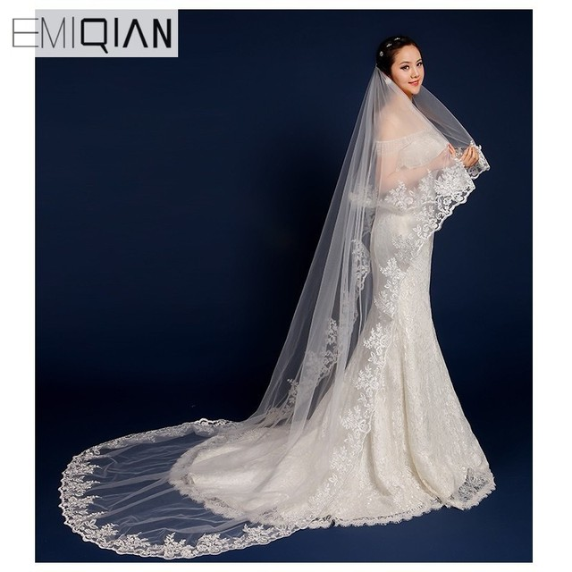 Wedding Accessories Hot 3 Metres Long One Layer Lace Bridal Veil White Tulle