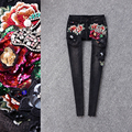 2016 embroidery jeans female trousers bodice beading pencil pants black