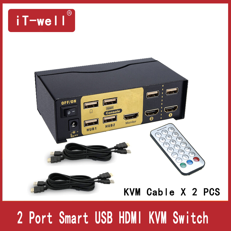 KVM Switch 2 Port USB HDMi Switcher  For Dual Monitor Keyboard Mouse With 2 KVM Cable