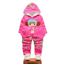 цена на 2020 Fashion Children Girls Add Cotton Clothing Sets Winter Baby Hoodies Pants 2Pcs/Sets Toddler Warm Clothes Kids Tracksuits