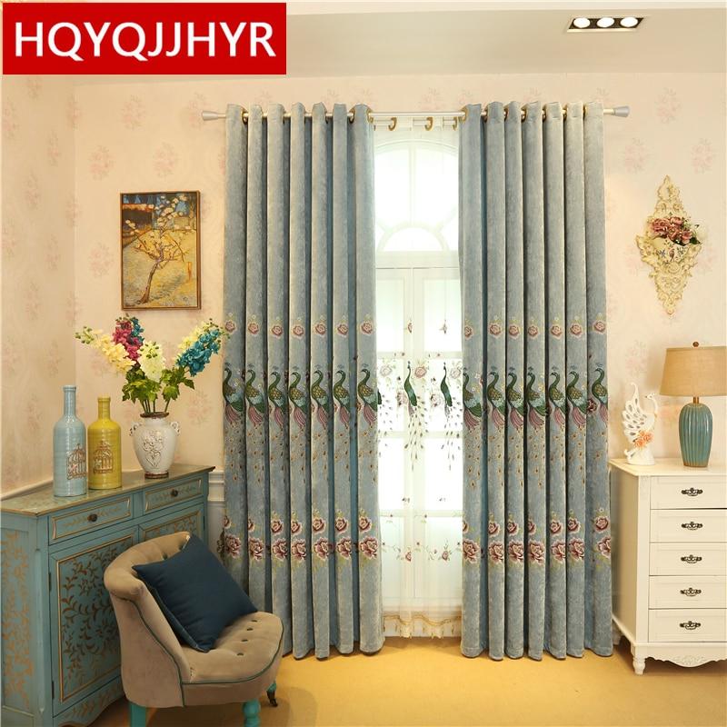 Европейски луксозни вили паун бродирани затъмняване завеси за всекидневната висококачествени сини елегантни завеси за спалня хотел