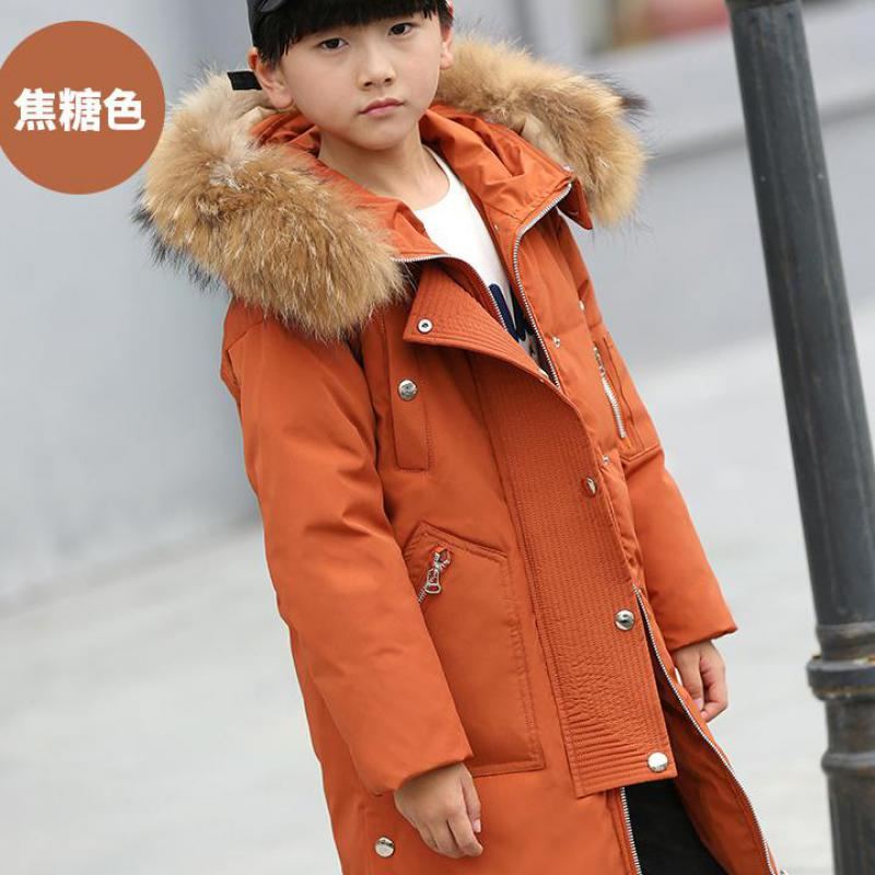 2018 New Boys Winter Long Down Jackets Outerwear Coats Fashion Big Real Fur Collar Thick Warm White Duck Down Coats Snowsuit 12 кофемашина капсульная delonghi nespresso en 560 w