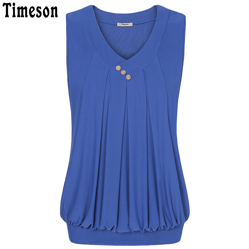 Timeson Sleeveless Double Layer Tulle Tank Top Women Buttons Ruched Female Camisole 2018 Summer Autumn Casual V Neck Cami Tops