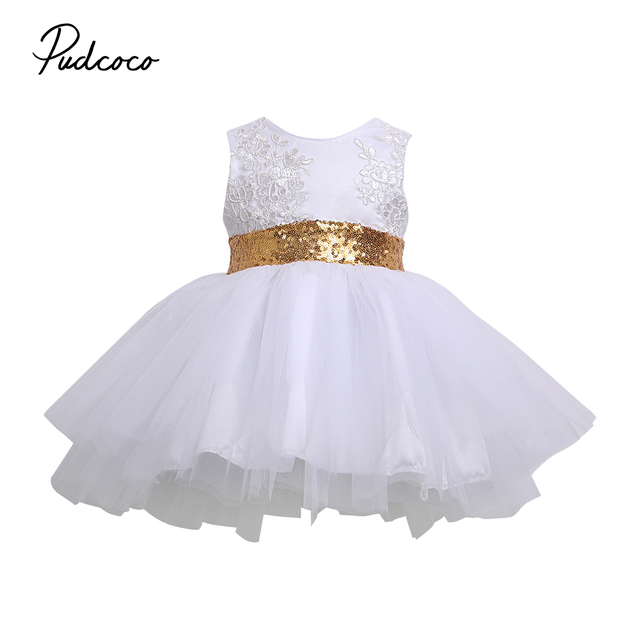 ad50f9f3da Christmas White/Pink 2017 Shiny Princess Kids Baby Girl Sequins Bownot  Dress Party Dresses