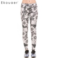 Ekouaer Quick Dry Floral Printed Yoga Pants Women High Waist Fitness Leggings Push Hip Athletic Sport