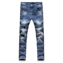 2017 новый мужской моды прямые джинсы мужские брюки с высоким качеством 100% хлопок джинсы тонкий отверстие Лодыжки-длина джинсы мужчины