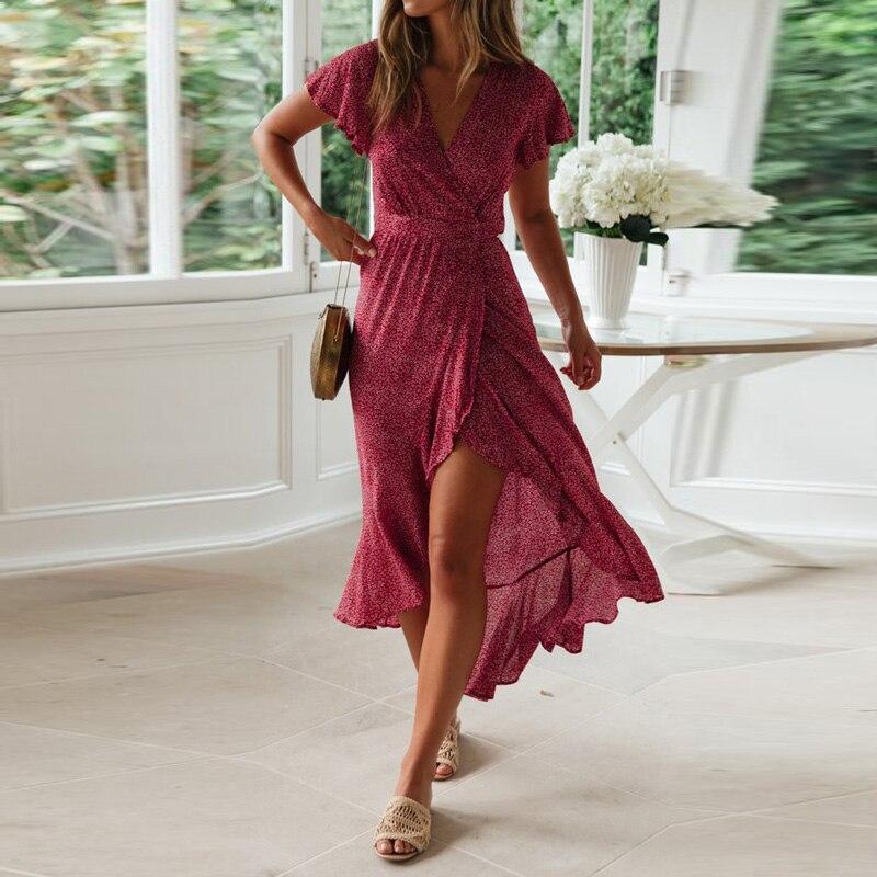 HiloRill Summer Long Maxi Dress Women Casual Boho Floral Print Beach Dress Sexy V-Neck Ruffle Bodycon Wrap High Slit Party Dress 2