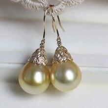 Women Gift word 925 Sterling silver real  Nanyang seawater pearl earrings light subtle atmosphere elegant natural deep g