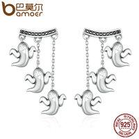 BAMOER 100 925 Sterling Silver Unique Cute Halloween Ghost Drop Earrings For Women Vintage Jewelry Halloween