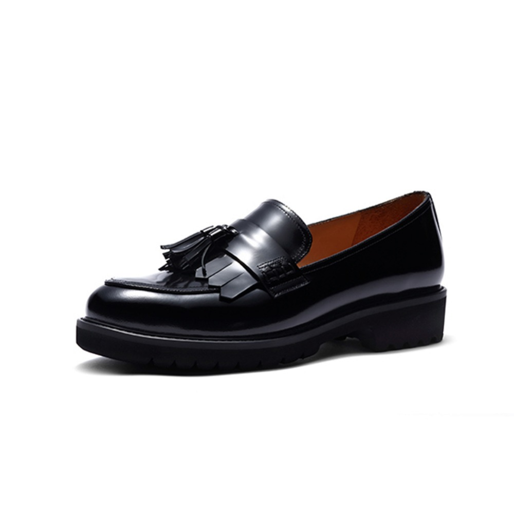 Womens New Loafer Shoes Ladies Leather Work Pump School Shoe Classic Fringe Tassel Casual Round Toe Thick Sole Low Wedge Heel women bright leather flats round toe shallow chaussure soft sole ladies shoes low heel spring casual loafer shoe slip on flats