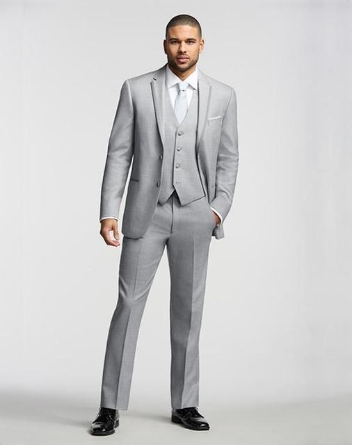 2017 Italy light grey Wedding / suit suit men + pants + tie + vest ...