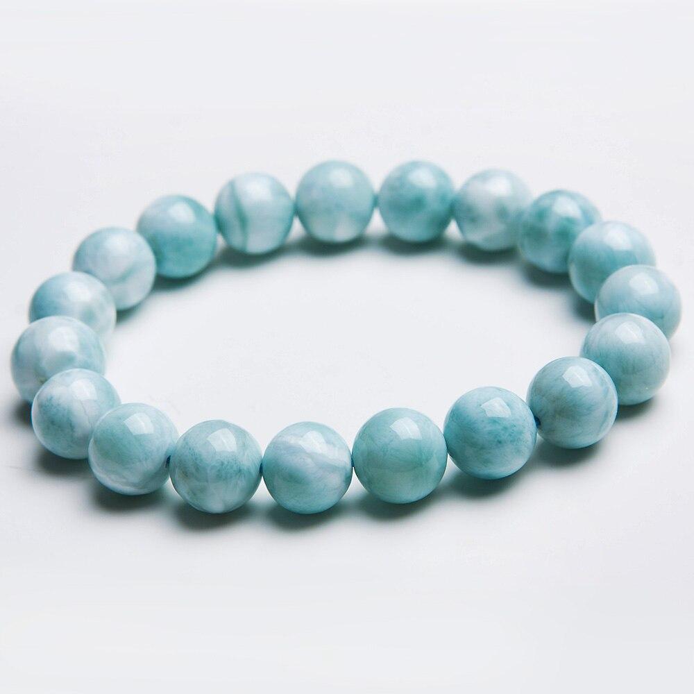 100% Natural Blue Larimar Bracelet Gemstone 10mm Healing Beads From Dominica Stretch Water Pattern AAAAAA