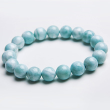 100% Natural Blue Larimar Bracelet Gemstone 10mm Healing Beads From Dominica Stretch Water Pattern AAAAAA цена в Москве и Питере