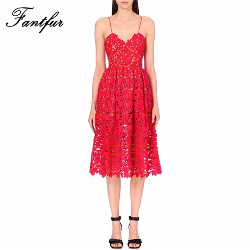 Self portrait azalea pizzo runway dress 2017 di modo di estate del ricamo sexy halter midi vestiti da partito crochet vestidos rosso bianco