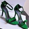 W - бесплатная доставка 2016 Euramerican новые поступления замшевые туфли сандалии женский / повелительниц сексуальный пряжки боути летние каблуки оранжевый