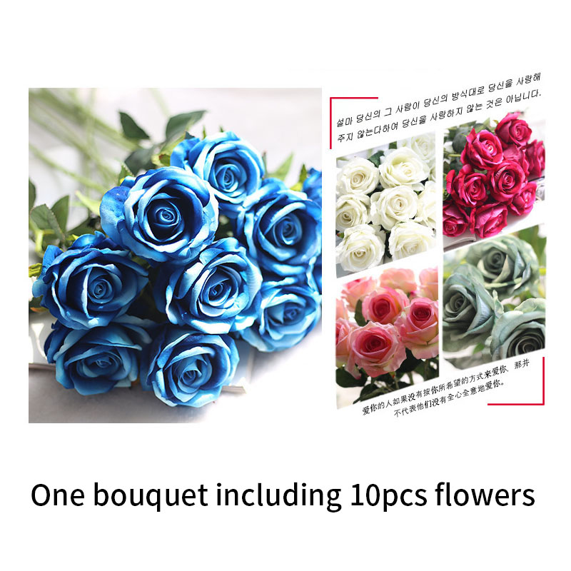 Image 2 - rose silk flowers wedding flowers real touch roses artificial the flowers flores Bouquet Fake vase Flower Home Party Decoration-in Artificial & Dried Flowers from Home & Garden
