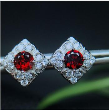 Natural Garnet earring Free shipping Natural real garnet 925 sterling silver earrings 5*5mm