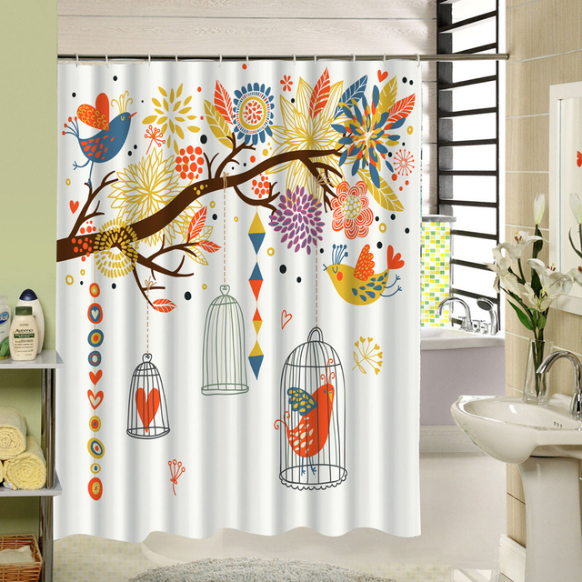 CHARMHOME Water Resistant Fabric Shower Curtain Cute Design Tree Birds Pattern Best Gift For House Warming Bathroom