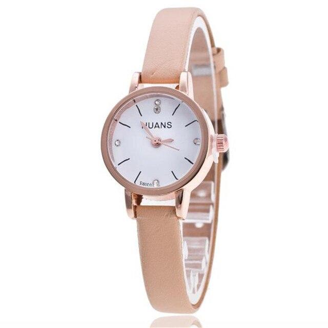 2018 women watch luxury brand Thin Belt Rhinestone Belt Watch PU leather casual