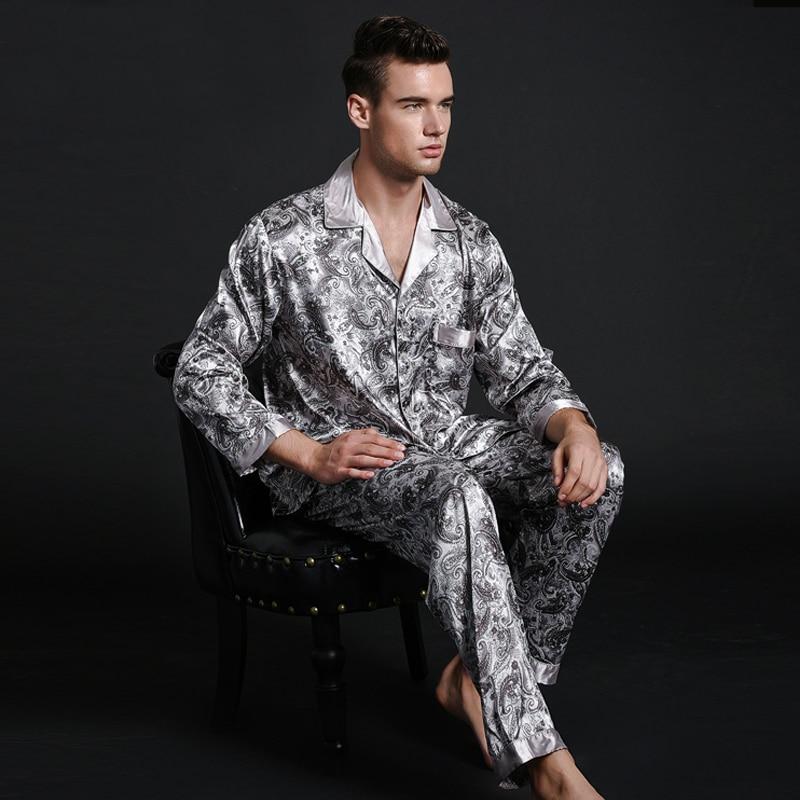Brand New 2PCS Chinese Men's Satin Silk Turn-down Collar Pajamas Sets Long Sleeve Pyjama Suits Casual Sleepwear Pijama L XL 2XL