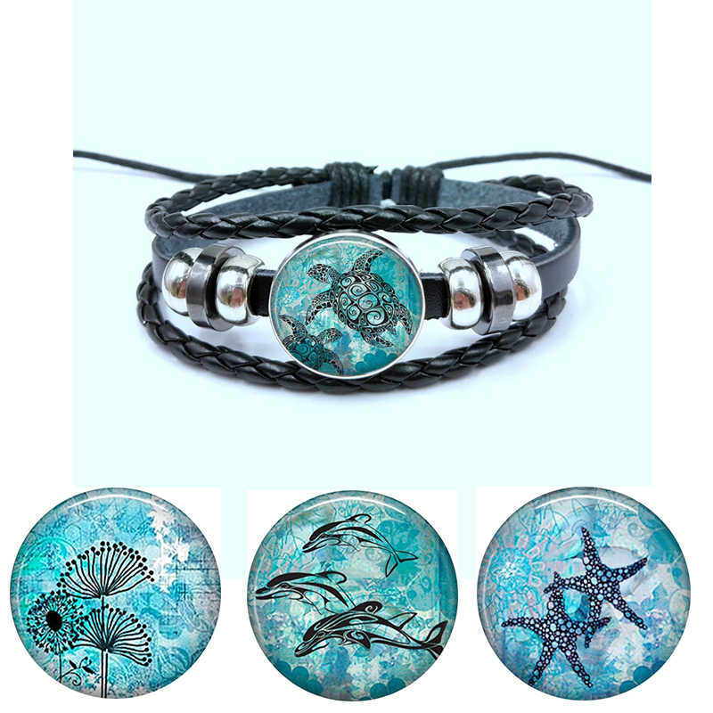 Blue Ocean Starfish Turtle dolphin Glass Cabochon Button Braided Leather bracelets Fashion Fine Jewelry For Women