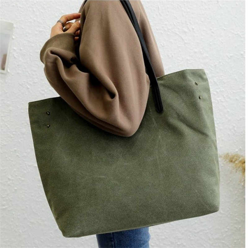 Big Shoulder Bag Contracted Joker 100% Canvas Leisure Or Travel Bag Large  Capacity Solid Shopping cdf9a39f88f6c