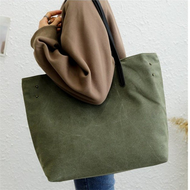 Big Shoulder Bag Contracted Joker 100% Canvas Leisure Or Travel Bag Large Capacity Solid Shopping Bag Man And Women Handbag