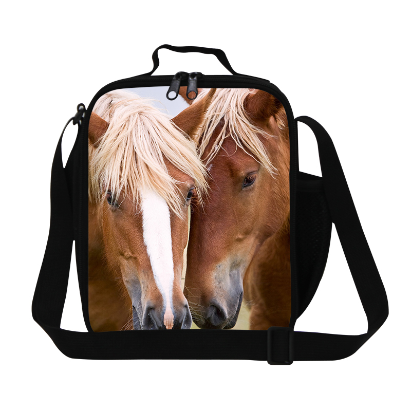 Cool horse lunch bags for kids school,Personalized boys lunch cooler bag,mens insulated meal bag with bottle holder,stylish bags