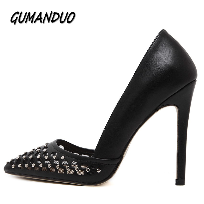 GUMANDUO summer women pumps fashion pointed toe high heels shoes woman rivets cut-outs party wedding ladies shoes sandals star new spring summer women pumps fashion pointed toe high heels shoes woman party wedding ladies shoes leopard pu leather