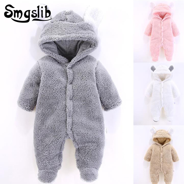 cbba87fcafca New born baby clothes Coral Fleece warm Baby boy winter clothes Animal bear  Overall baby unisex