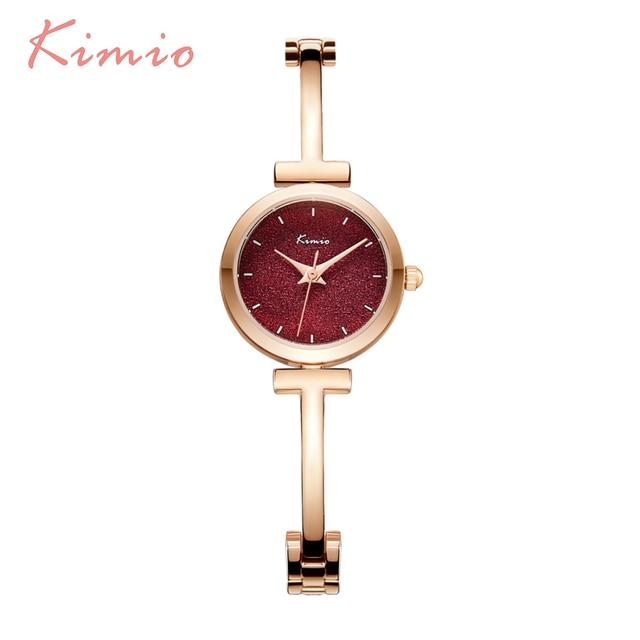 KIMIO Shine Dial Rose Gold Women Watches Bracelet Watch Ladies Watches Top Brand Luxury Alloy Women's Watch Quartz Wristwatch
