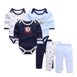 6 шт./партия, Одежда для новорожденных и малышей, осенне-весенний хлопковый комбинезон для малышей + штаны для малышей комплекты одежды для м...