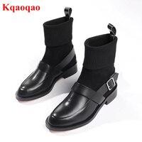 Черные кожаные Для женщин полусапожки Элитный бренд металлической пряжкой Дизайн носок сапоги супер звезды Обувь для подиума на низком каб