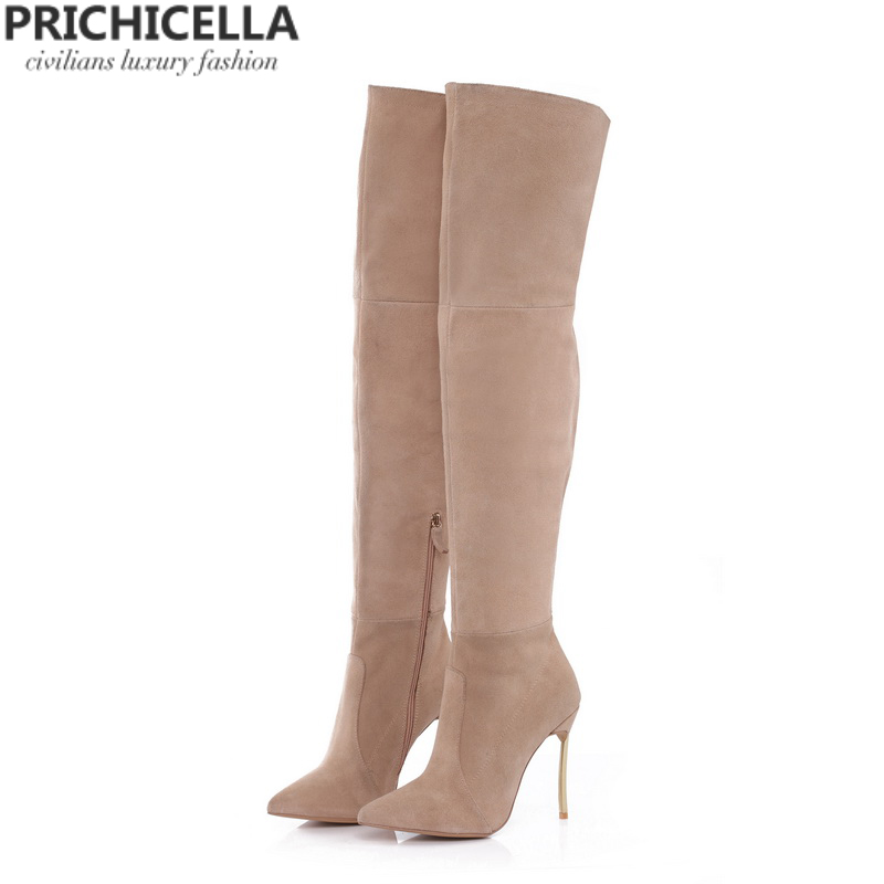 PRICHICELLA Iron heel genuine leather brown women thigh high boots high heeled tall gladiator booties size34