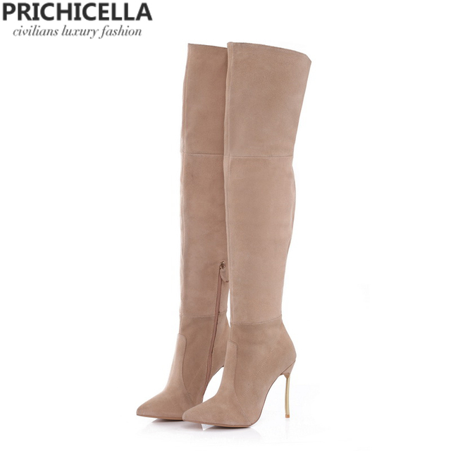 294dc9a053d PRICHICELLA Iron heel genuine leather brown women thigh high boots high  heeled tall gladiator booties size34-42