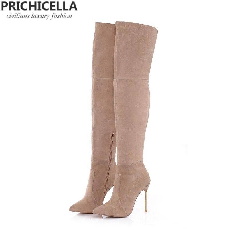 PRICHICELLA tacão De Ferro couro genuíno marrom mulheres altas da coxa botas altas de salto alto gladiador botas size34-42