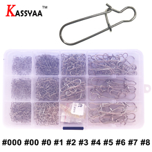 KASSYAA 390pcs Fishing Connector Barrel Swivels Rolling Swivels Safety Snap Solid Rings#000 #00 #0 #1 #2 #3 #4 #5 #6 #7 #8KXY056 цена